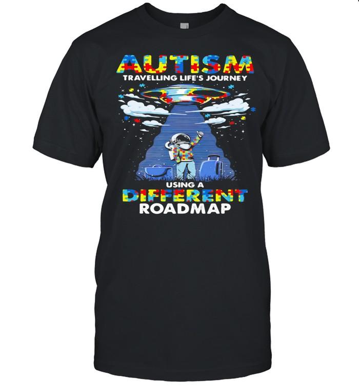 Autism Travelling Life's Journey Using A Diferent Roamap Ufo shirt