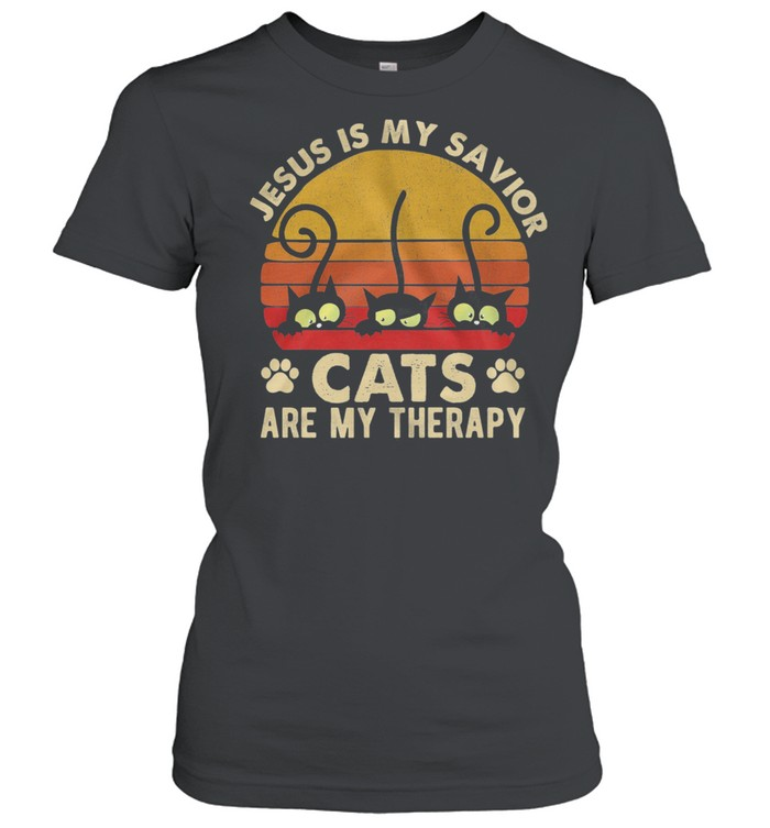 Jesus Is My Savior Cats Are My Therapy Vintage Retro shirt Classic Women's T-shirt