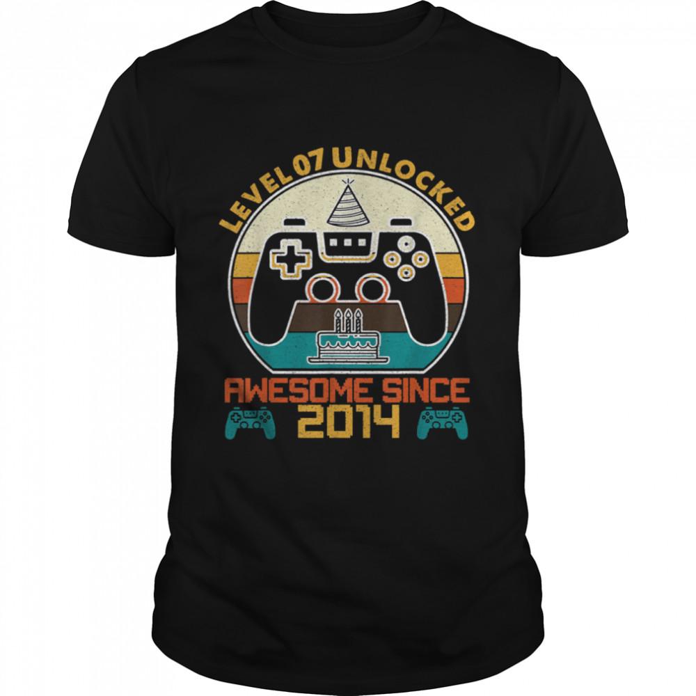 Level 7 Unlocked Video Gamer 7 Years Old 7 Birthday shirt