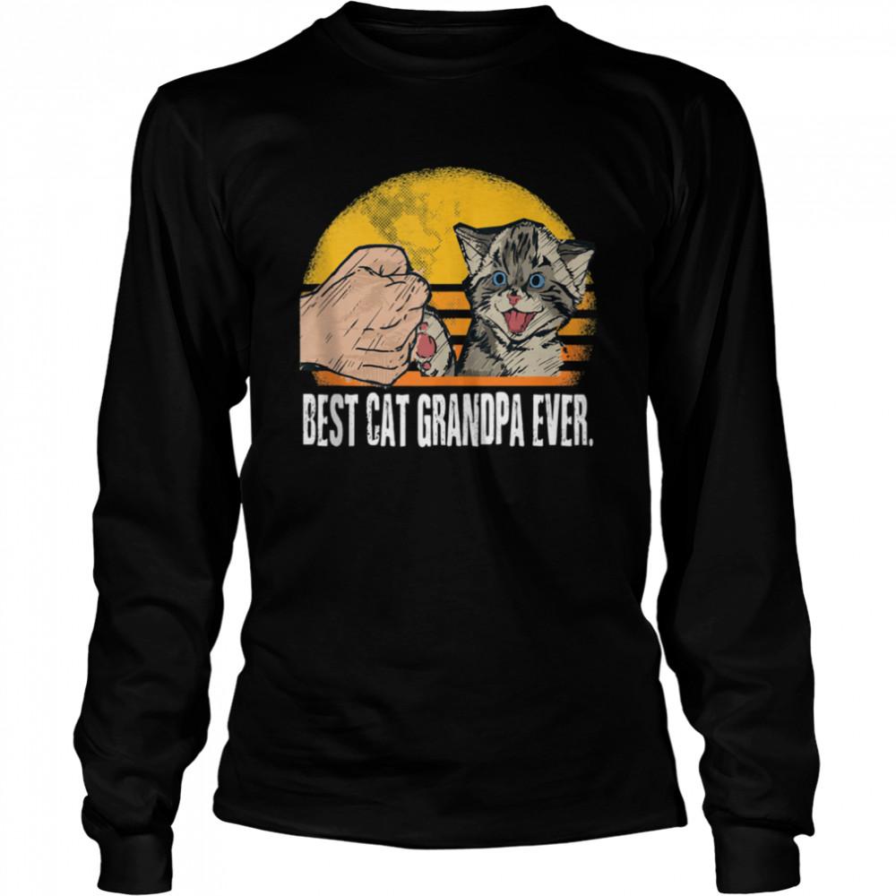 Cat Grandpa Vintage Eighties Cat Retro Distressed 2021 shirt Long Sleeved T-shirt
