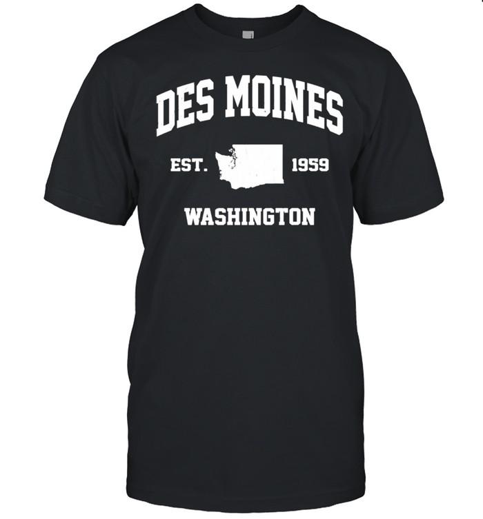 Des Moines Washington WA vintage state Athletic style shirt