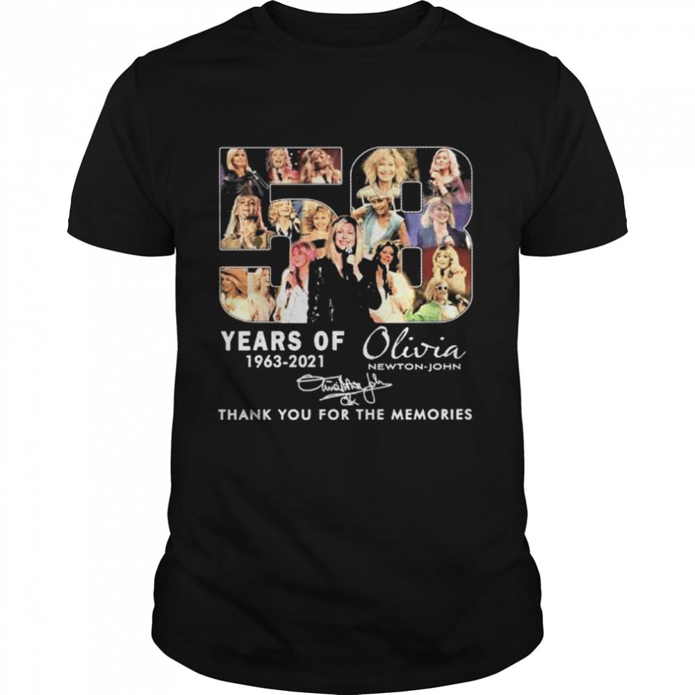 58 Years Of 1963 2021 Olivia Newton John Signature Thank You For The Memories Shirt