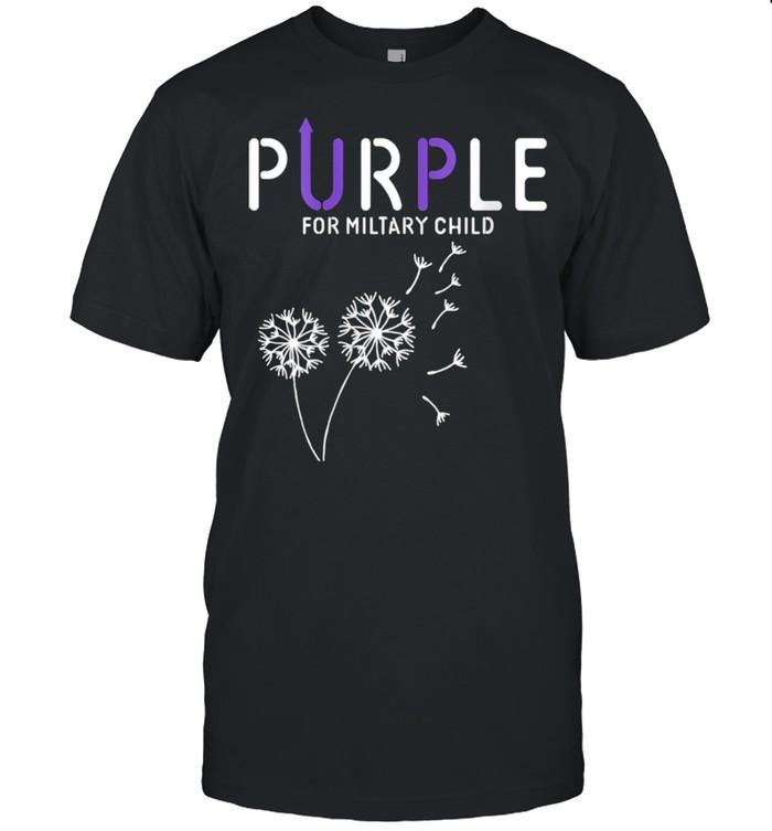 Womens Purple Up Soldier Military Child USA Flag Dandelion shirt