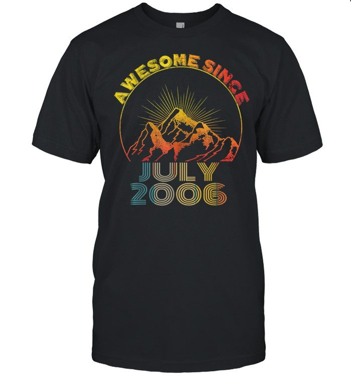 Awesome Since July 2006 15 Years Old 15th Birthday Boy Girl shirt